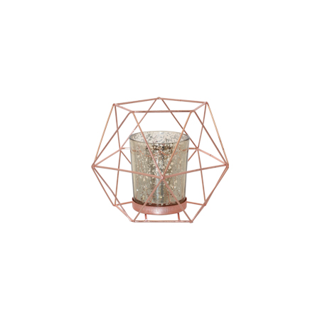 Geo rosegold & glass lantern and votive