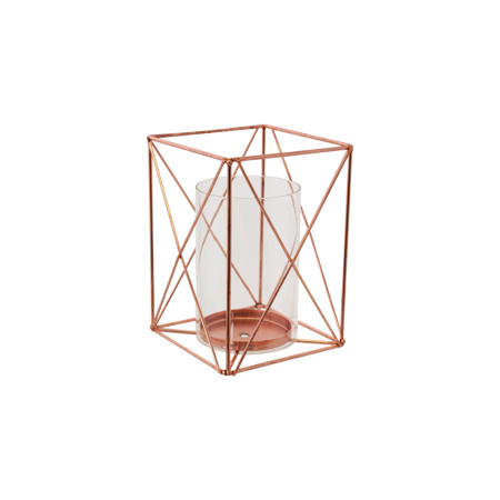 Geo square glass lantern 20x14cm