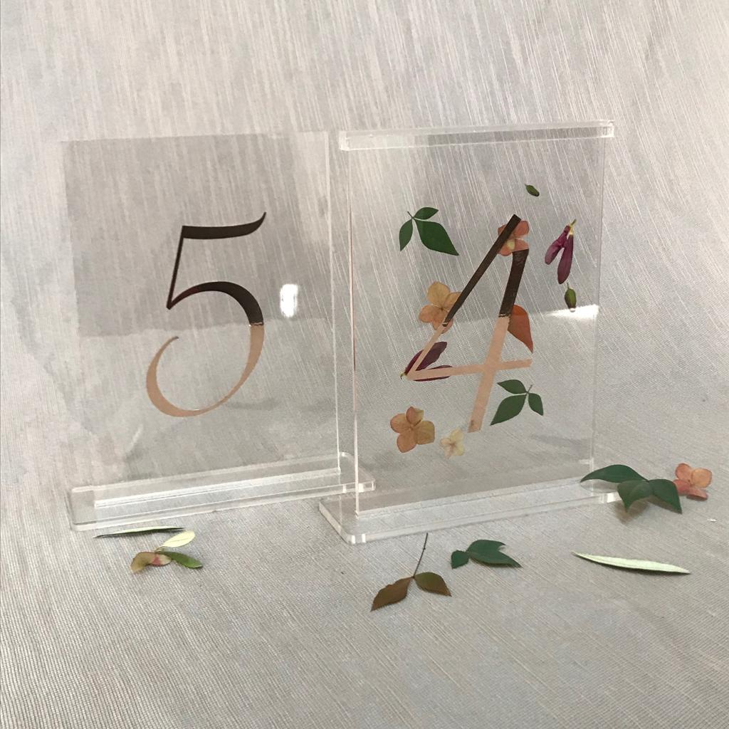 Rose gold perspex table numbers